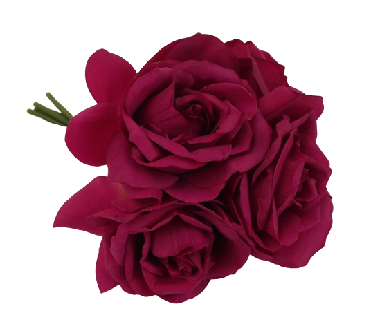27cm Beauty Open Rose Posy x 5 Heads