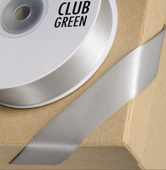 Double Face Satin 15mm x 25mtr Silver